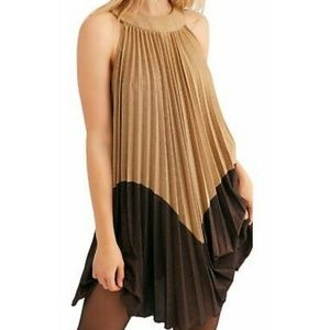Free People Gold Shimmer Pleated Shift Dress